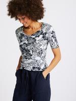 Kadın Lacivert Saf Pamuklu Çiçek Desenli Yarım Kollu T-Shirt
