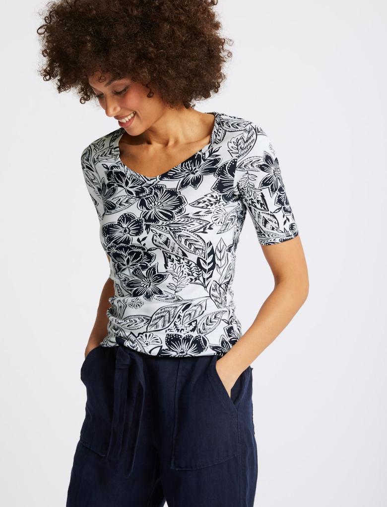Lacivert Saf Pamuklu Çiçek Desenli Yarım Kollu T-Shirt