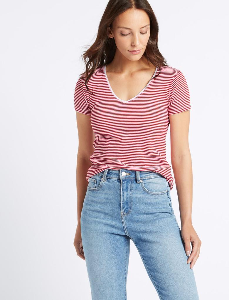 Kırmızı Saf Pamuklu Çizgili Kısa Kollu T-Shirt