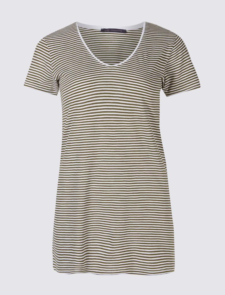 Saf Pamuklu Çizgili Kısa Kollu T-Shirt