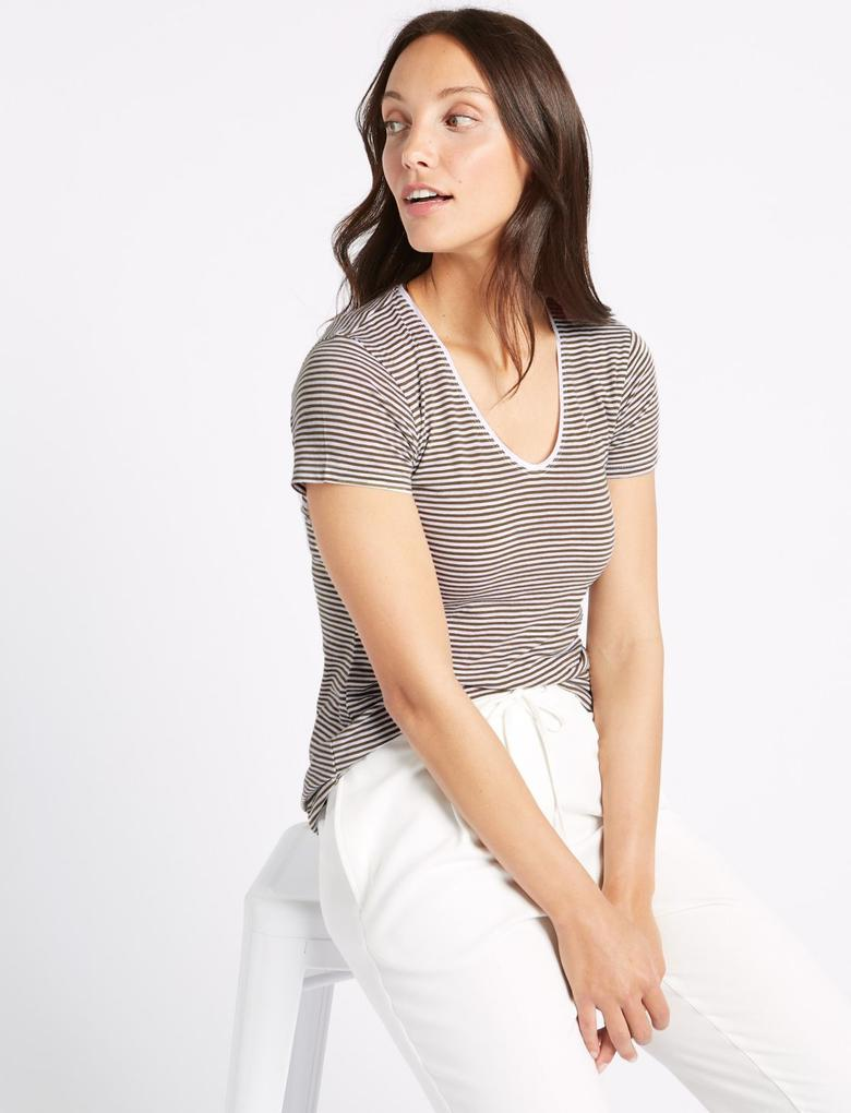 Kadın Yeşil Saf Pamuklu Çizgili Kısa Kollu T-Shirt