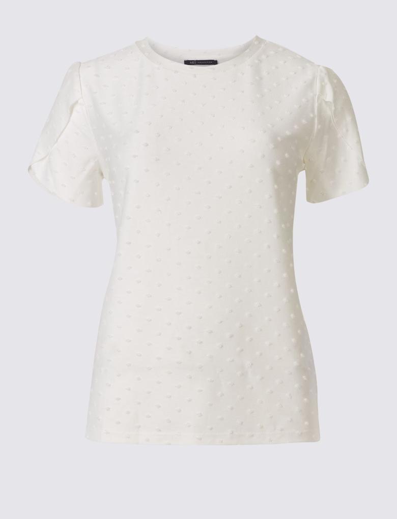 Bej Kısa Kollu T-Shirt