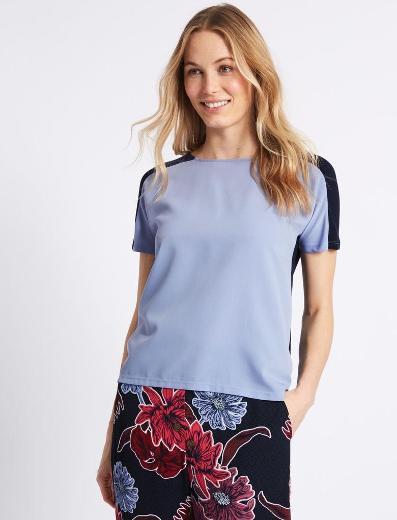 Mavi Yuvarlak Yaka Kısa Kollu T-Shirt