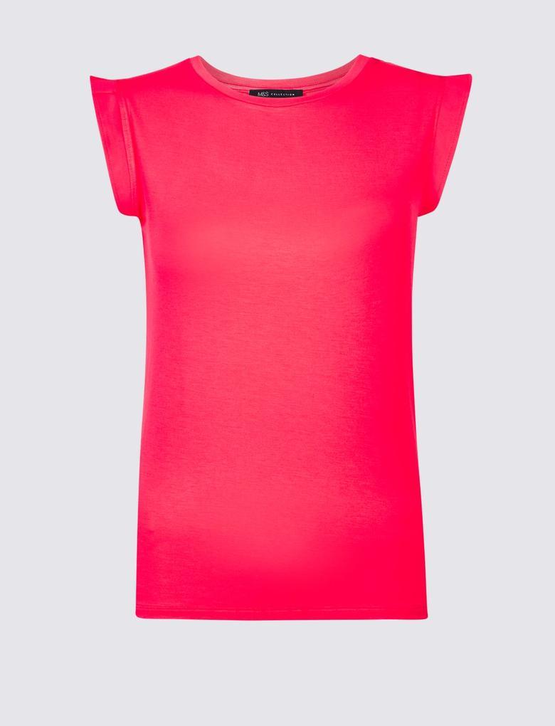 Pembe Hafif Kumaşlı Yuvarlak Yaka T-Shirt