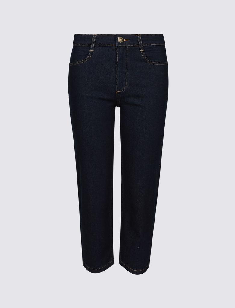 Mor Straight Leg Orta Belli Kısa Jean Pantolon