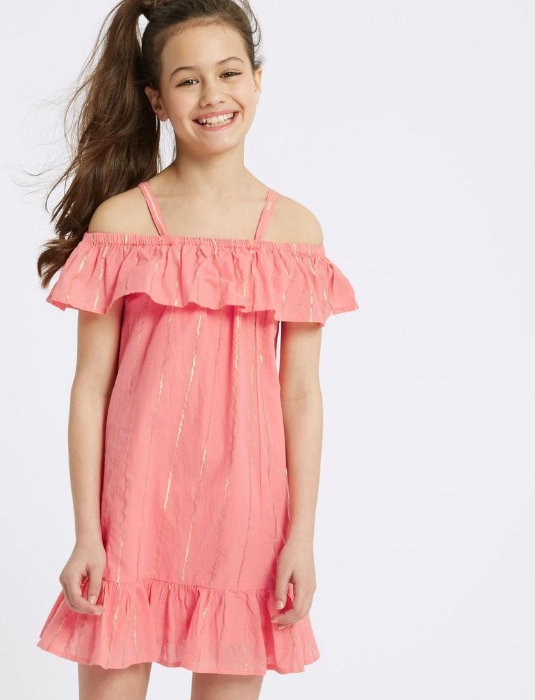 Kız Çocuk Pembe Çizgili Elbise