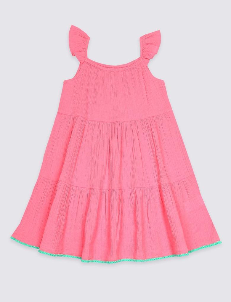 Pembe Saf Pamuklu Elbise