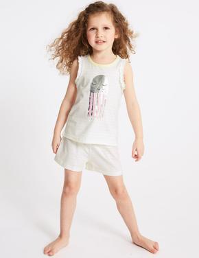 Kız Çocuk Sarı 2'li Pijama Takımı