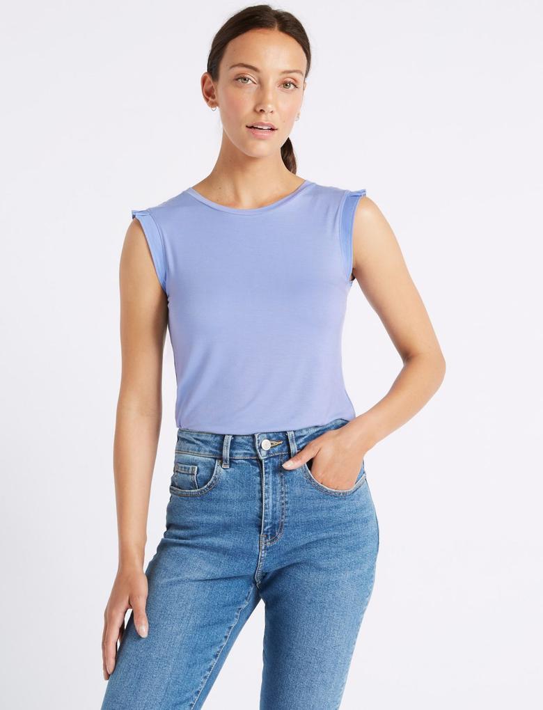 Kadın Mavi Hafif Kumaşlı Yuvarlak Yaka T-Shirt