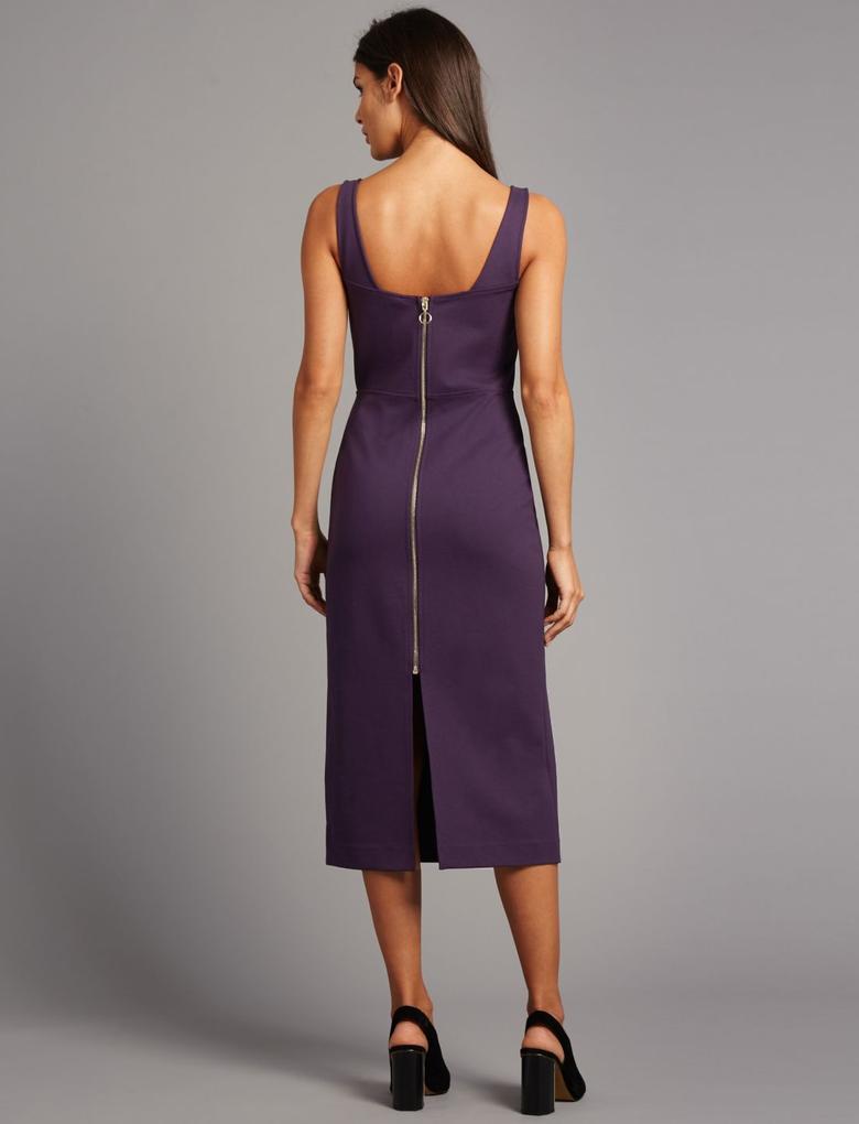 Sırttan Fermuarlı Bodycon Midi Elbise