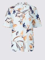 Çiçek Desenli Yarım Kollu Gömlek