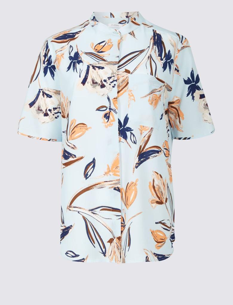 Mavi Çiçek Desenli Yarım Kollu Gömlek