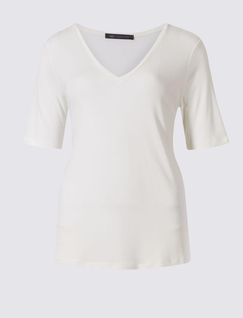 Beyaz Modal Karışımlı V Yaka Kısa Kollu T-Shirt