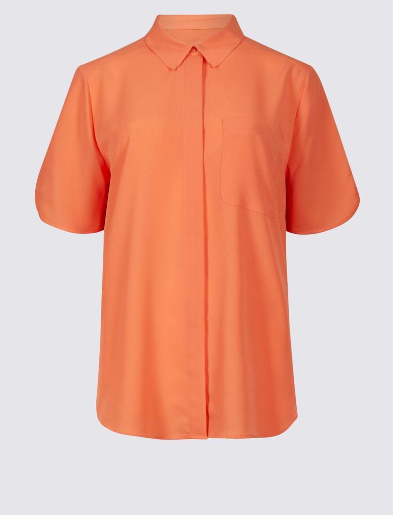 Turuncu Yarım Kollu Gömlek