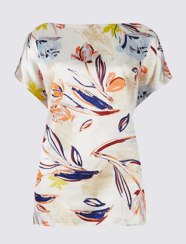 Çiçek Desenli Saten Önlü Bluz