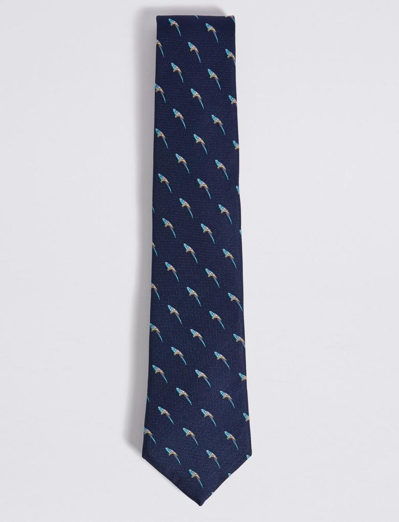 Lacivert Saf İpek Desenli Kravat