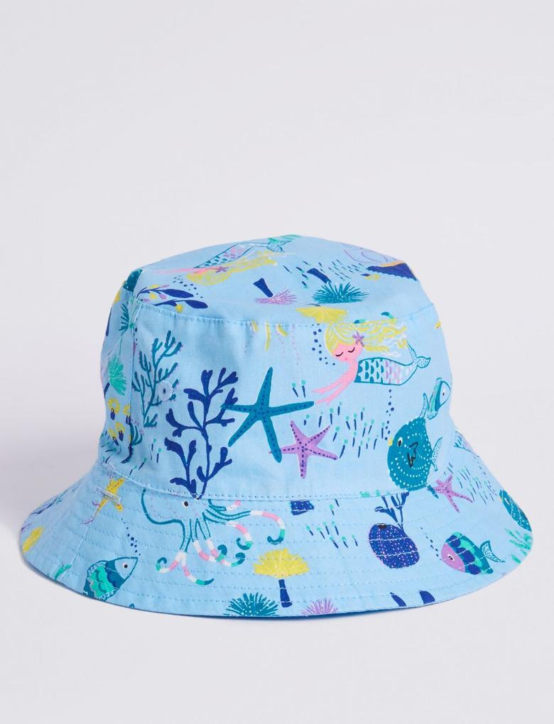 Mavi Çift Taraflı Şapka