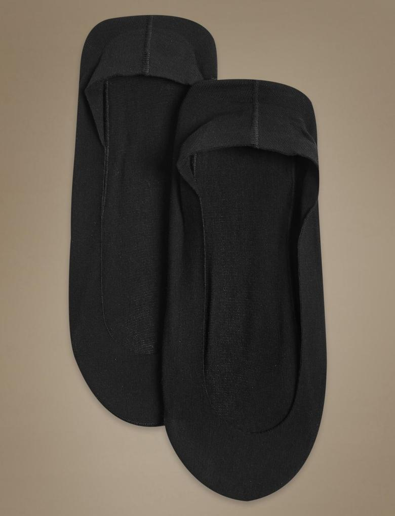 Siyah 2'li Pamuklu Babet Çorabı
