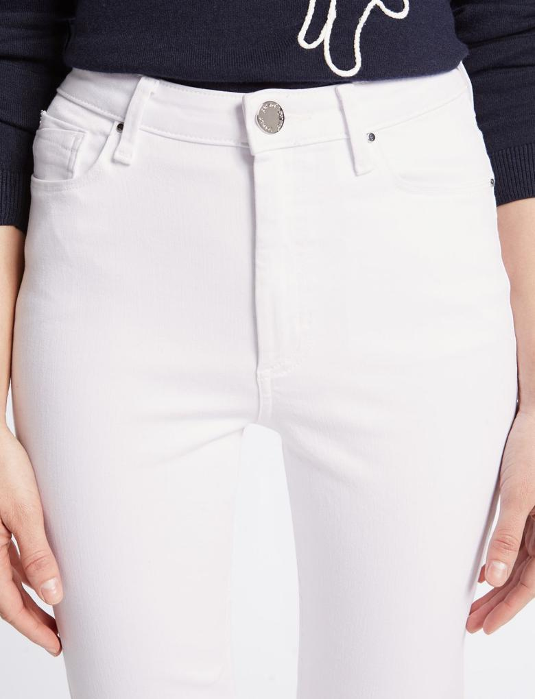 Beyaz Sculpt & Lift Roma Rise Slim Leg Jean Pantolon