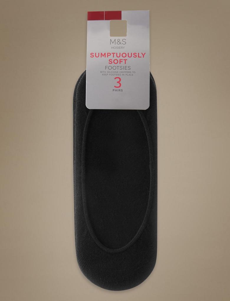 Siyah 3'lü Yumuşak Kumaşlı Babet Çorabı