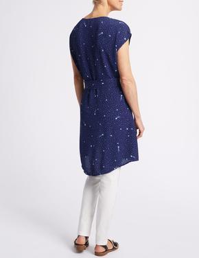 Lacivert Desenli Kısa Kollu Elbise
