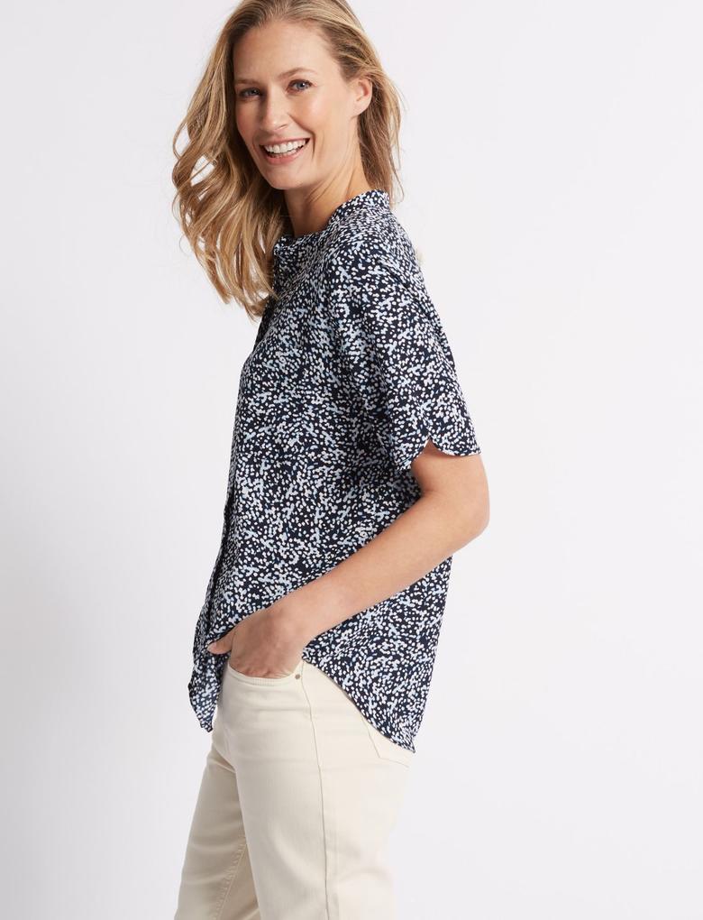 Desenli Yarım Kollu Gömlek