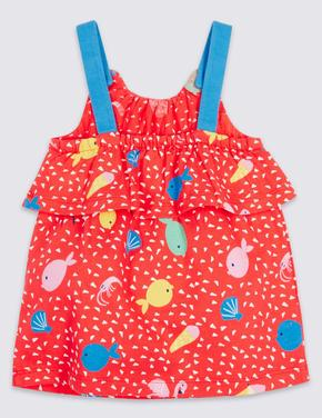 Multi Renk Desenli Saf Pamuklu Jarse Elbise
