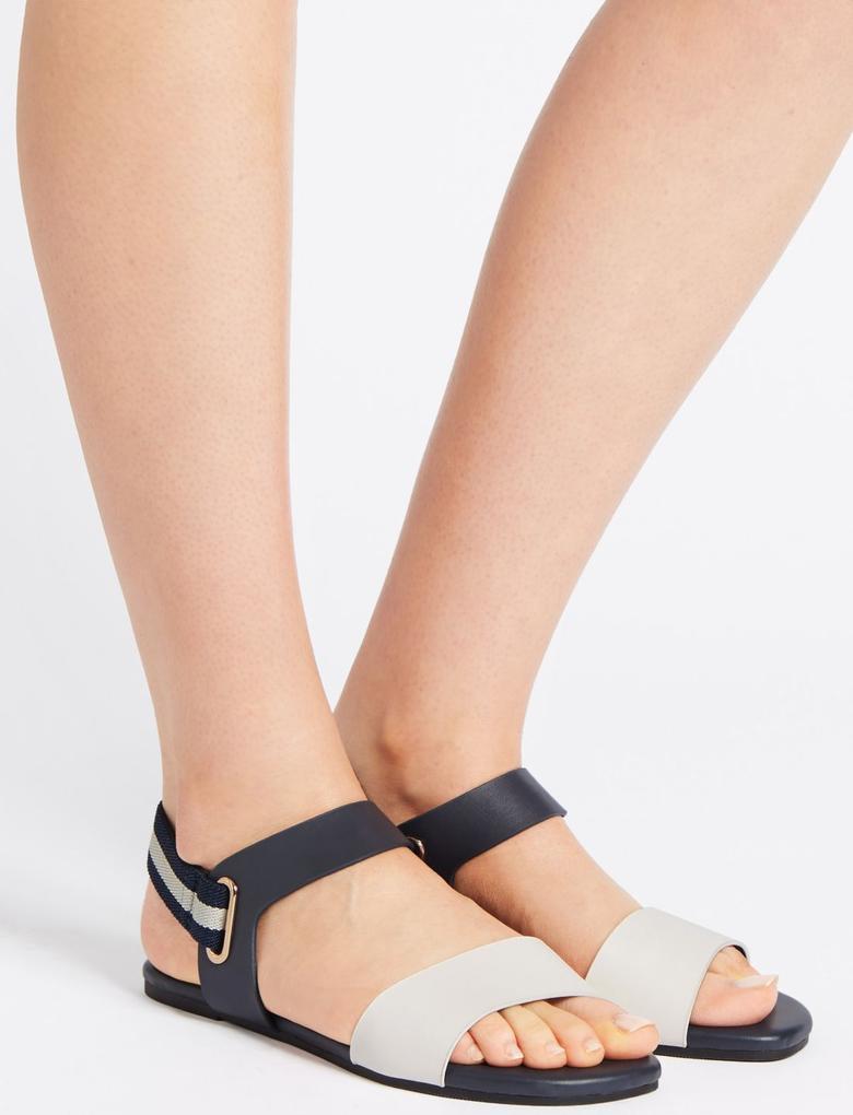 Lacivert Arkası Elastik Açık Ayakkabı