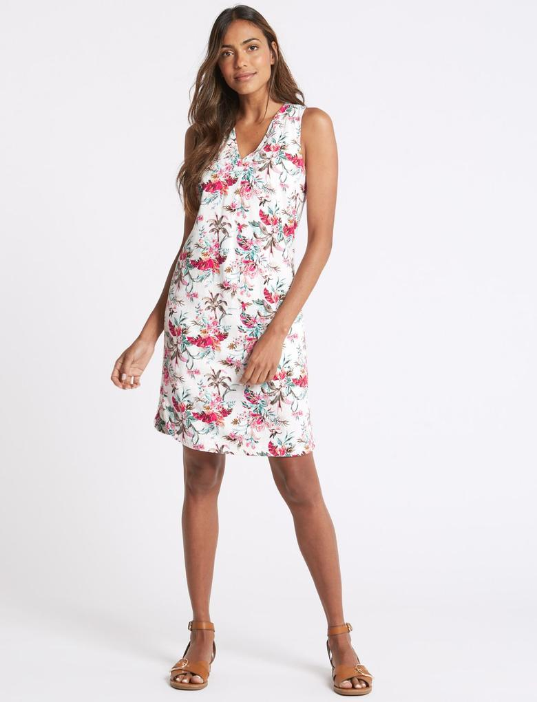 Bej Keten Karışımlı Elbise