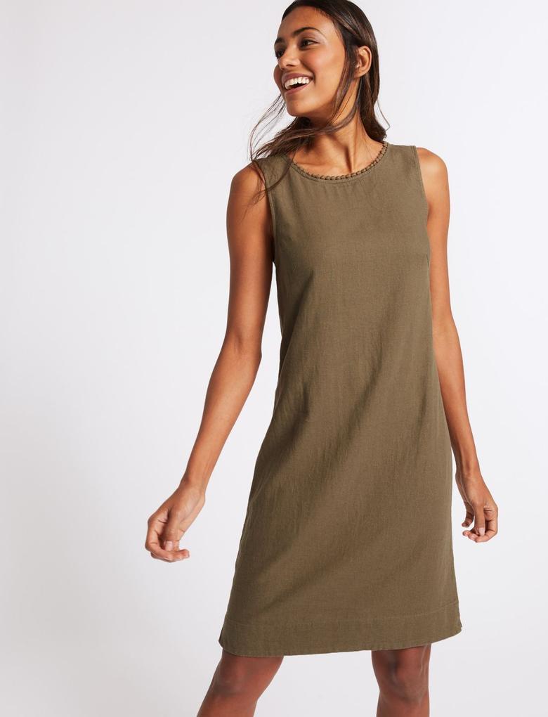 Keten Karışımlı Elbise