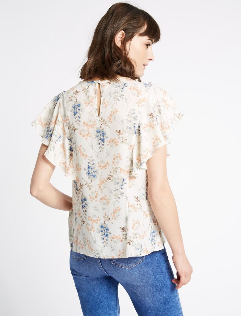 Bej Çiçek Desenli Yuvarlak Yaka Bluz