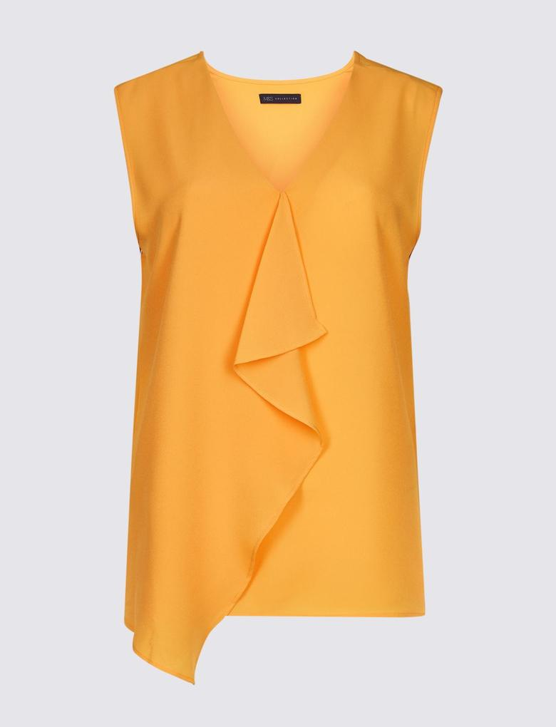 Sarı Fırfır Detaylı V Yaka Bluz