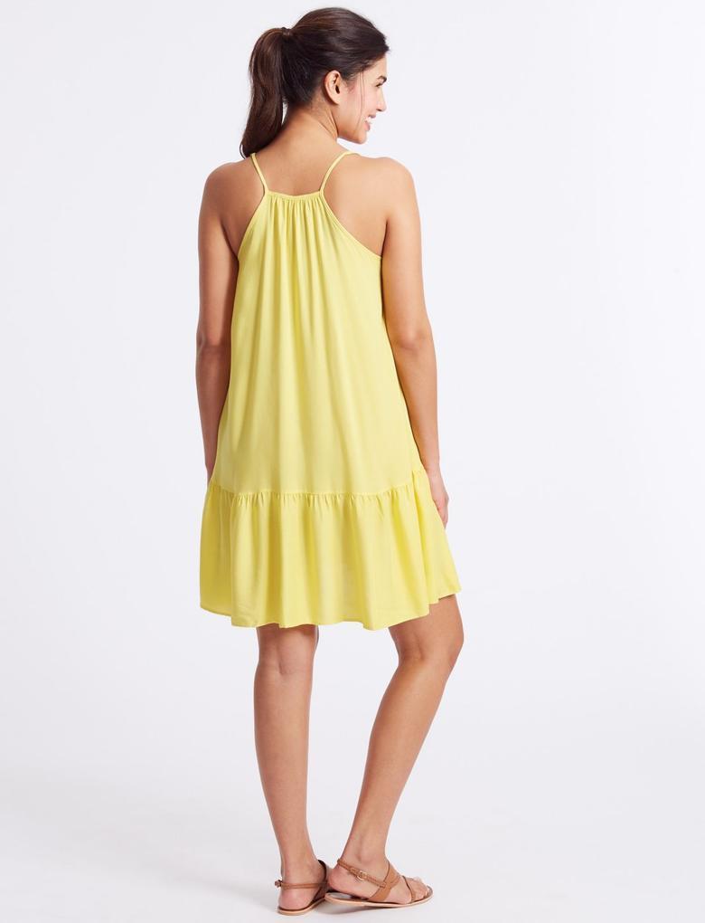 Sarı Askılı Plaj Elbisesi