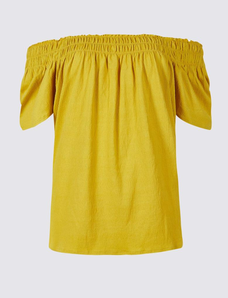 Kadın Bej Pamuklu Kısa Kollu Bluz
