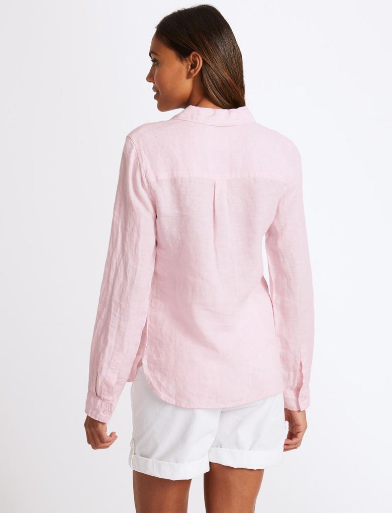Pembe Saf Keten Uzun Kollu Gömlek
