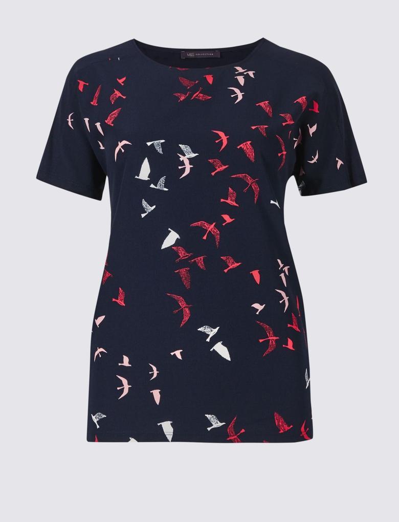 Lacivert Desenli Kısa Kollu Yuvarlak Yaka T-Shirt