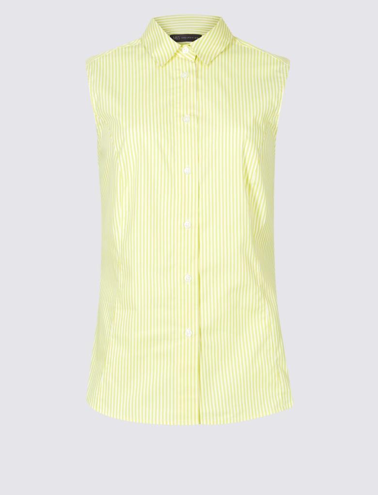 Pamuklu Çizgili Kolsuz Gömlek
