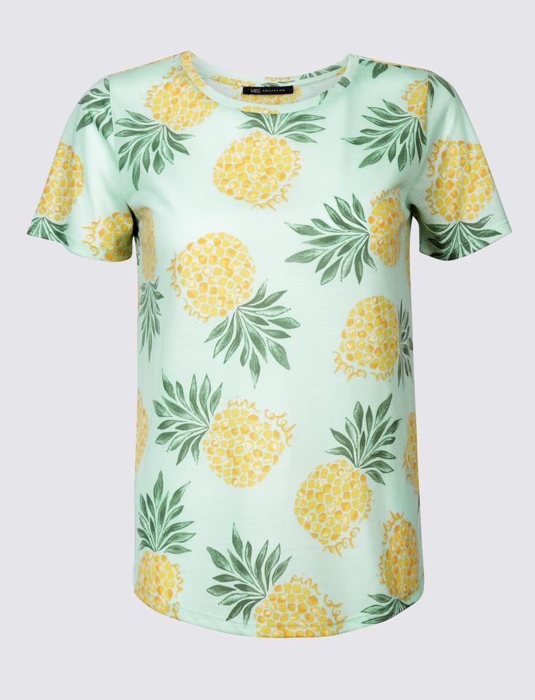 Kadın Yeşil Desenli Yuvarlak Yaka Kısa Kollu T-Shirt