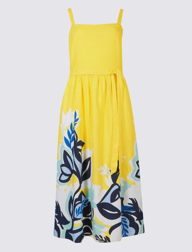 Sarı Keten Çiçek Desenli Midi Elbise