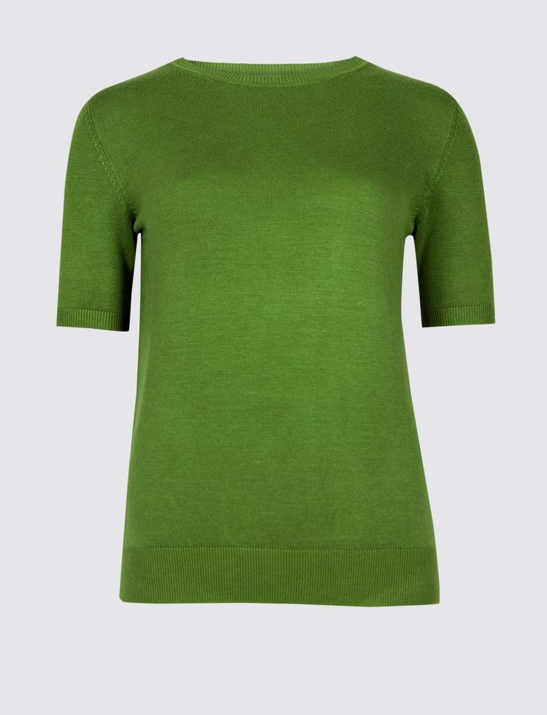 Yeşil Yuvarlak Yaka Kısa Kollu Kazak