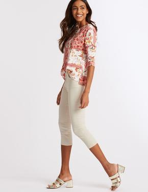 Kadın Renksiz Orta Belli Super Skinny Leg Kısa Jean Pantolon