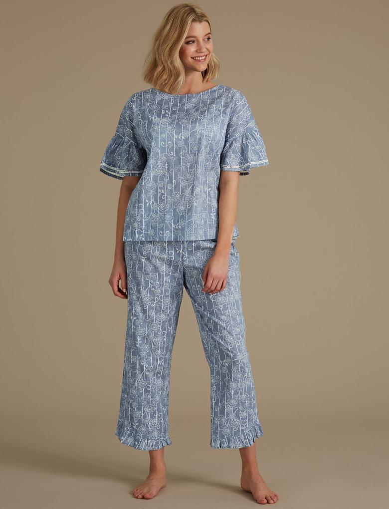 Mavi Saf Pamuklu Çiçek Desenli Pijama Takımı