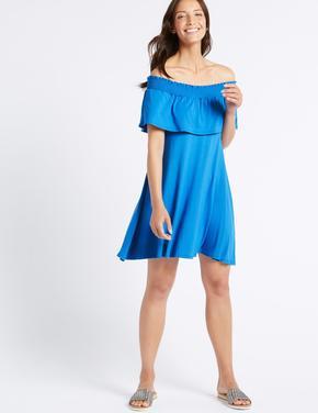 Mavi Yarım Kollu Elbise