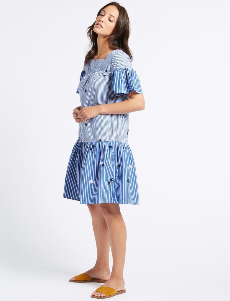 Mavi Saf Pamuklu İşlemeli Elbise