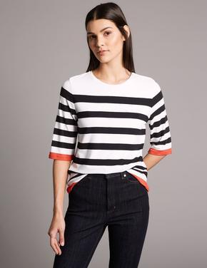 Çizgili Yuvarlak Yaka Yarım Kollu T-Shirt
