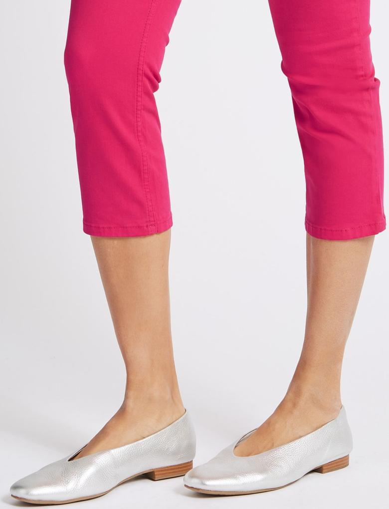Kadın Pembe Orta Belli Super Skinny Leg Kısa Jean Pantolon