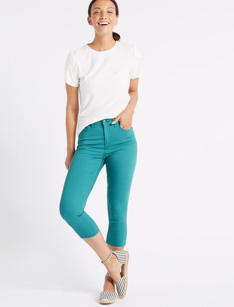 Yeşil Orta Belli Super Skinny Leg Kısa Jean Pantolon