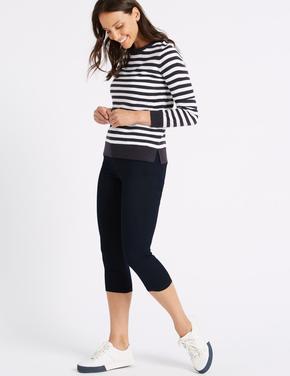 Kadın Mor Orta Belli Super Skinny Leg Kısa Jean Pantolon