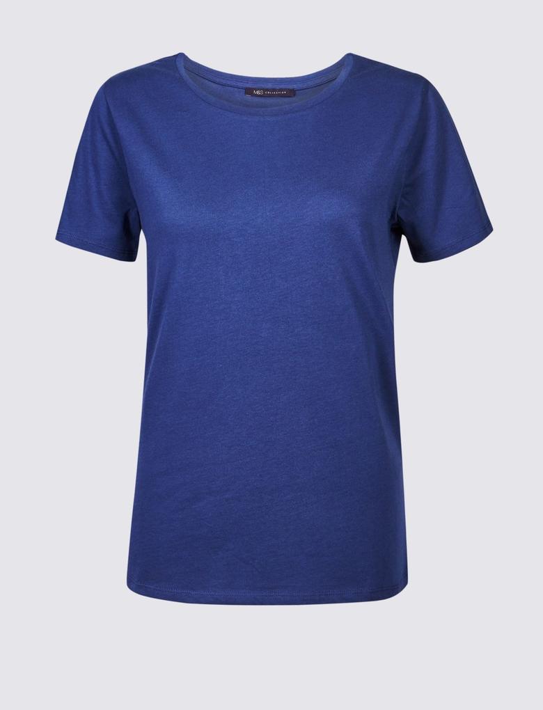 Mor Saf Pamuklu Yuvarlak Yaka Kısa Kollu T-Shirt