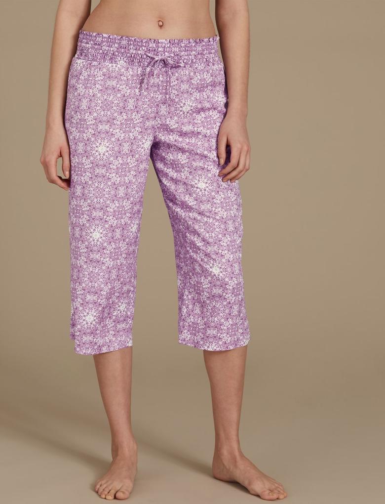 Mor Desenli Kısa Pijama Altı